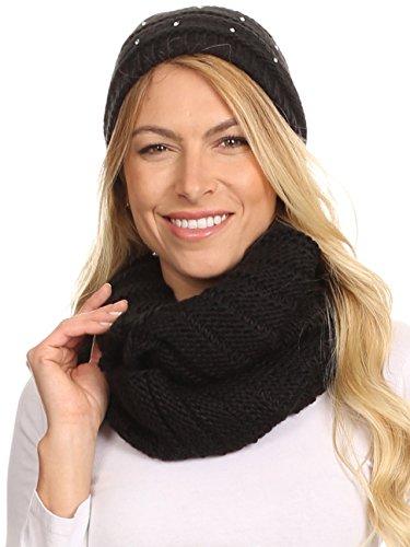 Sakkas 16141 - Sayla Rhinestone Jewel Soft Warm Woven Cable Knit Beanie Hat And Scarf Set - Black - OS -