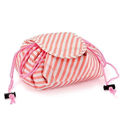 Zyaner Creative Drawstring Lazy Makeup Storage Bag Portable Waterproof Exquisite Fashion Ladies Cosmetic Bag (White stripe)