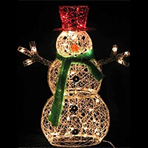 Amazon.com: 32-Inch Lighted Snowman Christmas Lawn Decoration with ...:32-Inch Lighted Snowman Christmas Lawn Decoration with 50 Clear Lights,Lighting