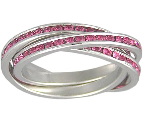 Silver Ring Rolling (Sterling Silver Rolling Ring with a Rhodium Plating and Pink Cubic Zirconia, Size 5)