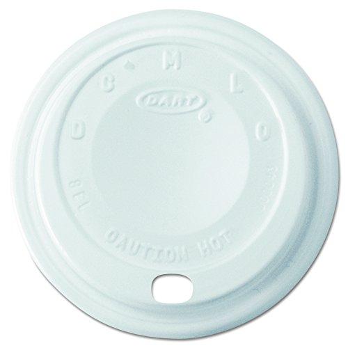 (Dart 8EL Cappuccino Dome Sipper Lids, 8-10oz Cups, White (Case of 1000))