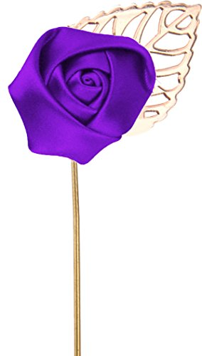 (Flairs New York Gentleman's Essentials Premium Handmade Flower Lapel Pin Boutonniere (Pack of 1 Pin, Royal Purple [Small Rose Gold Leaf]))