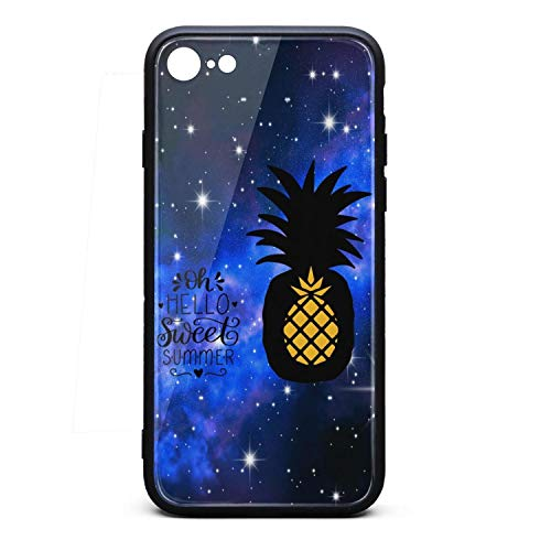 Best Phone Case for Iphone6/6s Summer Pineapple Dawn Nicole Designs Rubber Frame Tempered Glass Covers Pretty Shock-Absorbing Skid-Proof Never Fade Cell Cases Pretty ()