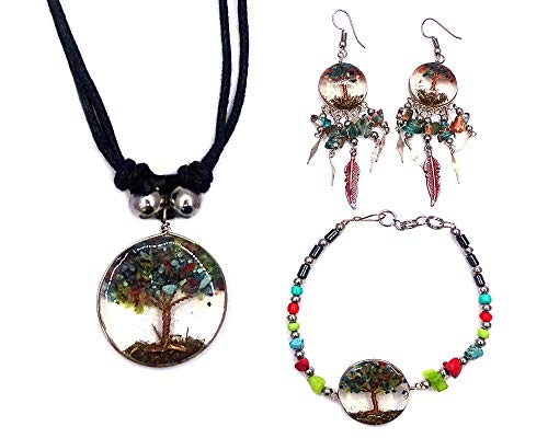 (Mia Jewel Shop Tree of Life Crushed Chip Stone Round Acrylic Beaded Chip Stone Hematite Bracelet Long Chip Stone Feather Dangle Earrings with Matching Pendant Necklace Jewelry Set (Teal/Red/Multi))