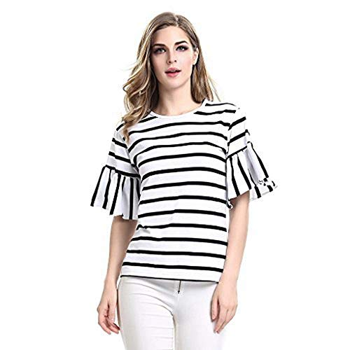 AOMEI Women's Cotton Round Neck Butterfly Short Sleeve Stripe Tee Shirts Tops For Women T-Shirt Size XL