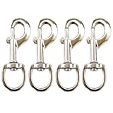 Huouo 4 Pcs 3.5' Flag Swivel Snap Hooks Flagpole Accessories - Heavy Duty Eye Bolt Clips for Pet Leash, Key Chain or Clothlines Tarp - Nickel Plated