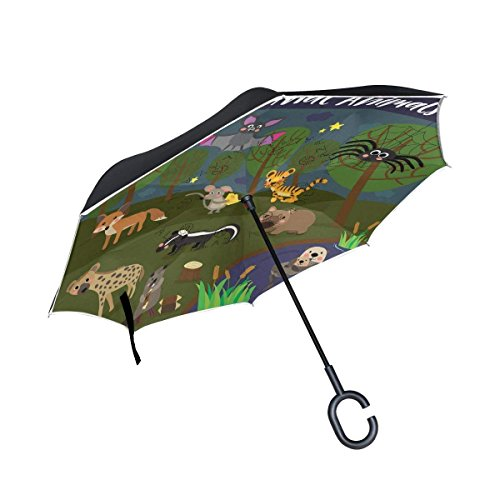 All agree Inverted Reverse Umbrella Cartoon Forest Tiger Windproof for Car Rain Outdoor