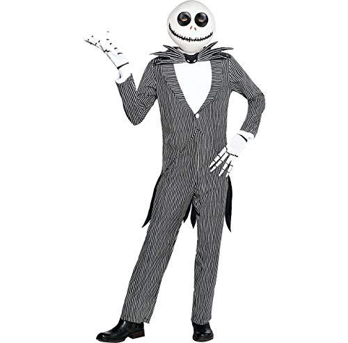 Amscan The Nightmare Before Christmas Jack Skellington Pinstripe Halloween Costume for Men, Standard, with Accessories Black, -