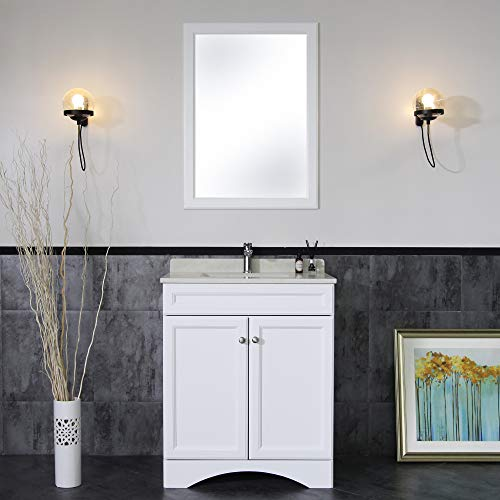 - Homlux 30''Bathroom Vanity cabinet with Marble Countertop, Cabinet with Soft Close Function and Undermount Ceramic Sink&Mirror White (30