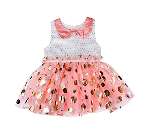 [Rush Dance Happy Birthday Girl Pink and Gold Polka Dots Tutu Dress Pettiskirt (110 (2-3 Years), Pink Polka Dot] (Third Leg Costume)