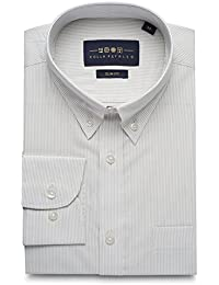 Men's Striped Superfine Cotton Slim Fit Narrow Collar Button Down Long Sleeve Dress Shirt with Pocket