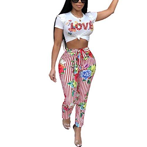 Kafiloe Women Casual Ruffle Crop Top Pants Set Floral Jumpsuit Summer 2 Piece Outfits Clubwear Red Strip M (Red Pants Crop)
