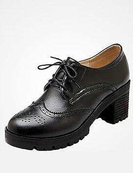 4101d469494 NJX  hug Zapatos de mujer - Tacón Robusto - Plataforma   Punta Redonda -  Tacones -Boda   Exterior   Oficina y Trabajo ...
