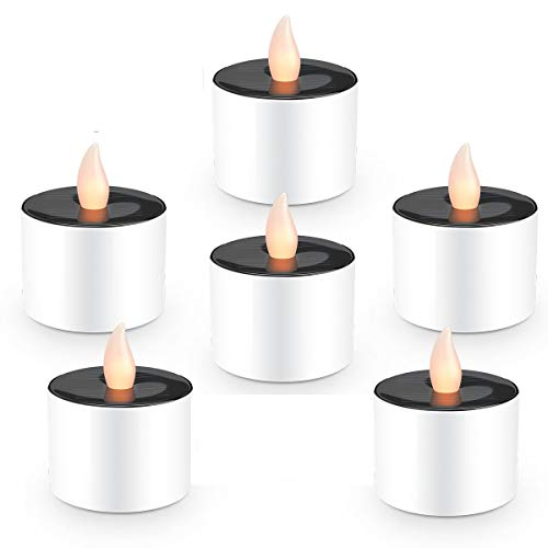 6 Pack Flameless Solar LED Tealight Candles, COUTUDI Warm White Faux Tea Light with Realistic Flicker for Wedding Patio Home Bar Party, Batteries Included