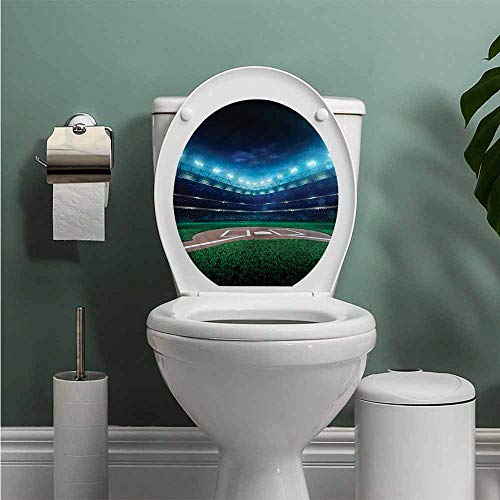 ThinkingPower Baseball Vinyl Carving Decal Sticker Baseball Stadium Night Toilet Seat Sticker Bathroom Decor W13XL16 INCH (Best Seats At Yankee Stadium For Baseball)