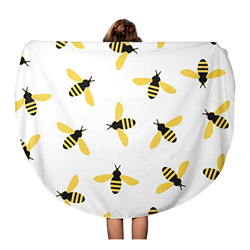 Semtomn 60 Inches Round Beach Towel Blanket Colorful Bumble Bees Yellow Pattern Bright Summer Cute Wasp Travel Circle Circular Towels Mat Tapestry Beach -