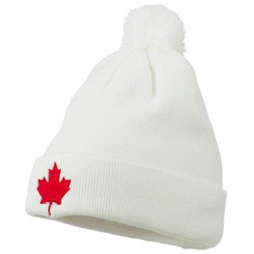 Canada Maple Leaf Embroidered Pom Beanie - White OSFM