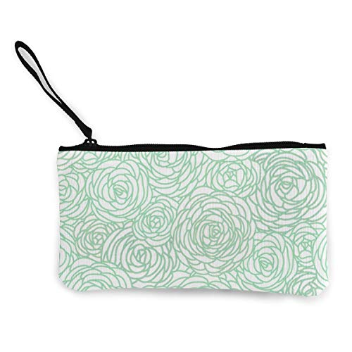 Mint Green And White Flower Women's Travel Makeup Bags Canvas Coin Purse Unique Clutch Pouch Cosmetic Organizer Bag