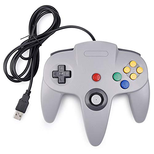 Classic USB Controller for N64, Retro Wired N64 Gaming Controller Remote Gamepad Joystick for N64 Console Video Game System PC Mac Raspberry Pi - Gray (Joystick Driver For Windows 7 64 Bit)
