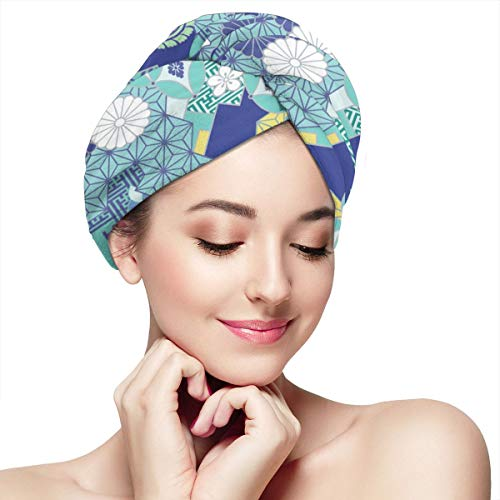 WFIRE Beautiful Flowers Japanese Pattern Microfiber Dry Hair Hat Shower Caps Head Turban Towel