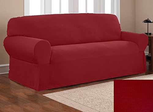 Elegant Home One piece Stretch to Fit Sofa Cover Furniture Couch Slipcover # Stella (Burgundy) (Slipcover Burgundy)