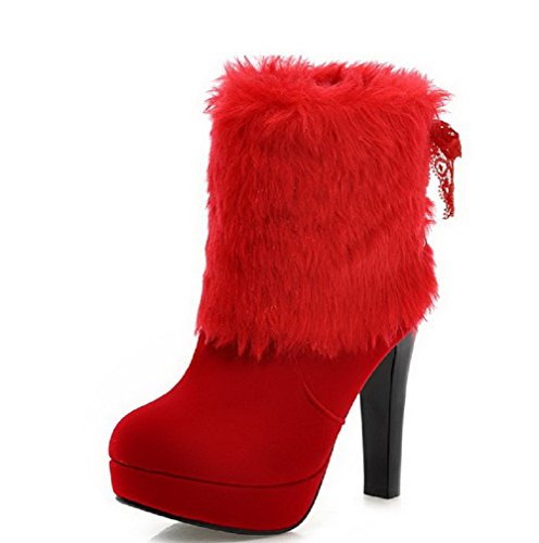 Boots Frosted Women's Low Round up Toe Heels Closed Lace top High Allhqfashion Red OPwp5Sxx
