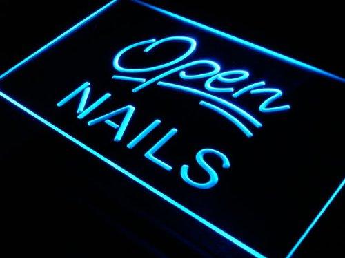 ADVPRO Cartel Luminoso j397-b Open Nails Beauty Lounge Bar ...