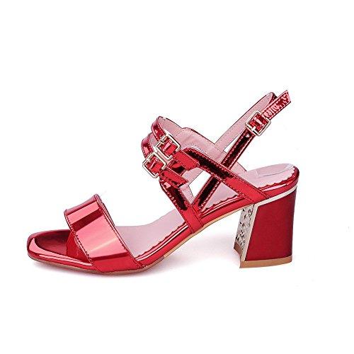 AllhqFashion Women's Open Toe Kitten Heels Patent Leather Solid Buckle Sandals Red svCHZZKeEj