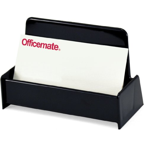 Officemate OIC Recycled Business Card Holder, Up to 50 Cards, Black (26072)