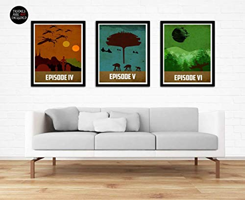 - Star Wars Trilogy Poster Set Vintage Poster Star Wars Movie Print Minimalist Star Wars Poster Artwork Wall Art Home Decor Wall Hanging A New Hope The Empire Strikes Back Return Of The Jedi