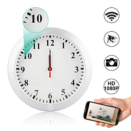 CAMAKT WiFi Hidden Camera Wall Clock Spy Camera, 1080P HD Wireless Digital Nanny Cam with Motion Detection/Loop Recording Cover Security Camera by CAMAKT