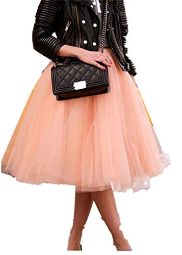 Plus Size Tutu Skirt (TOAH Women's Knee Length Sheer Bowknot Tutu Skirt A Line Short Knee Length Tutu Tulle Prom 3X-Large Blush)