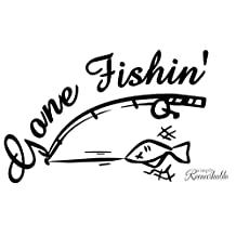 Vinyl Decal Sticker for Computer Wall Car Mac Macbook and More - Gone Fishin' - Decal for Anglers, Fisherman, Fisherwomen, Fishing