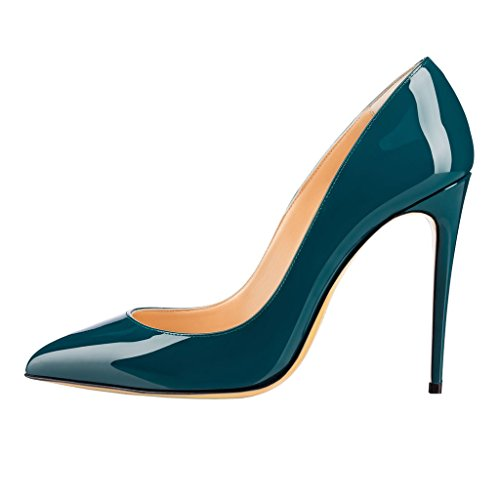 Merumote Donna Gradiente A Punta Stiletto Tacco Alto In Vernice Elegante Vestito Da Partito Pumps Teal-patent
