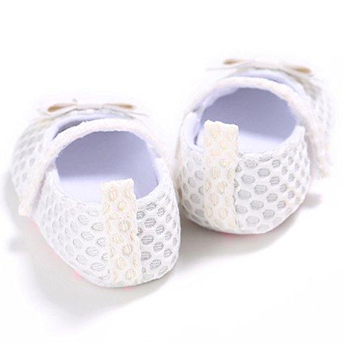 Zapatos de bebé Auxma Zapatos para niños pequeños,Zapatos lindos suaves del algodón del Bowknot de la niña Para 0-18 mes Blanco
