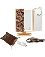 Makeup Vanity Mirror with 36 LED Lights 1X2X5X10X Magnifying, Desk Cosmetic Portable Trifold Make Up Mirrors with Set Gifts, Dimmable Touch Screen, USB Battery Tabletop Face Light Up Mirror (Leopard)