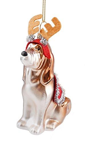 Basset Hound Reindeer Hanging Christmas Ornament