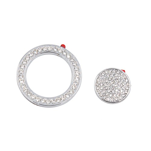 uxcell Silver Tone Faux Diamond Car Start Button Decorative Ring Sticker for Jaguar by uxcell
