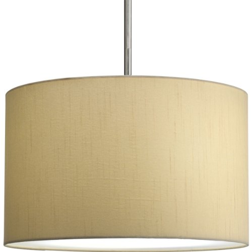 Progress Lighting P8823-01 16-Inch Drum Shade, Beige Silken Fabric with Full Modular Pendant Requires 1–Light Stem (P5198) or 3–Light Stem (P5199) to Make Complete Fixture