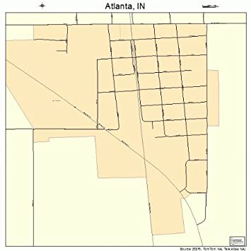 Atlanta Indiana Map.Amazon Com Large Street Road Map Of Atlanta Indiana In Printed