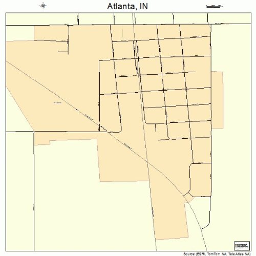Amazon.com: Large Street & Road Map of Atlanta, Indiana IN