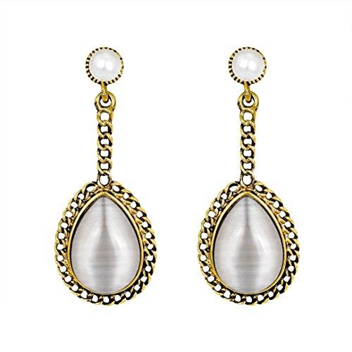 Womens Eardrop Earrings,Elegant Zircon Drop Earrings Pear-Shaped Long Earrings Jewelry Axchongery (White, 1 Pair) (White Zircon Pear)