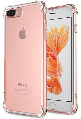 iPhone 7 Plus Case, iPhone 8 Plus Case, Matone Apple iPhone 7/8 Plus Crystal Clear Shock Absorption Technology Bumper Soft TPU Cover Case for iPhone 7 Plus (2016)/iPhone 8 Plus (2017) - Clear