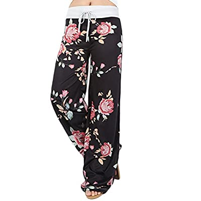 Ensasa Women's Wide Leg Pants Drawstring High Waist Floral Printed Black Casual Loose Yoga Pants