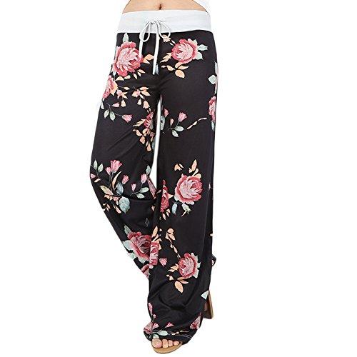 Ensasa Women's Wide Leg Pants Drawstring High Waist Floral Printed Black Casual Loose Yoga Pants
