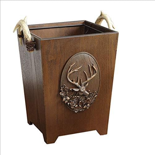 アントラー樹脂ごみ箱ごみ箱、シェイク蓋/カバー付き/ゴミ箱、1.5ガロン容量、バスルームには、ベッドルーム、キッチンハンドル (Color : Antler handle)