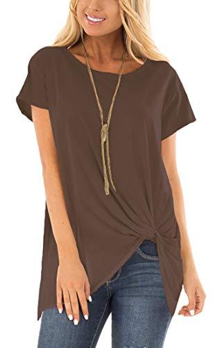 (Viishow Women's Cowl Neck Casual Slim Tunic Tops Short Sleeve Blouses Coffee S)