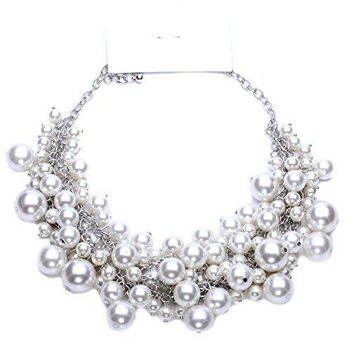 Sunbu Simulated Pearl Necklace Cluster Choker Beads Chain For Women -