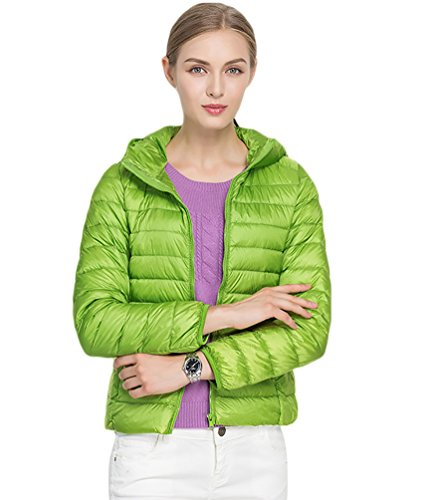 Green Ultra Jacket Packable Hooded Weight CHENGYANG Winter Light Women's Short Puffer Down Coat Quilted qqROB1wZ