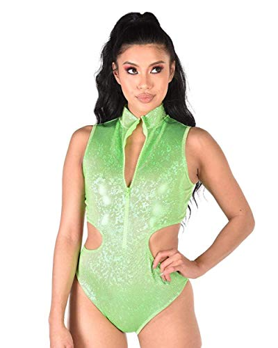 Center Cut Out Heart - iHeartRaves Broken Glass Holographic Cutout Bodysuit (Neon Green, Large)